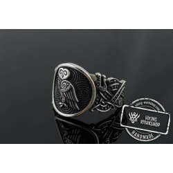 Owl Symbol with Wolf Ornament Ring Sterling Silver Unique Jewelry