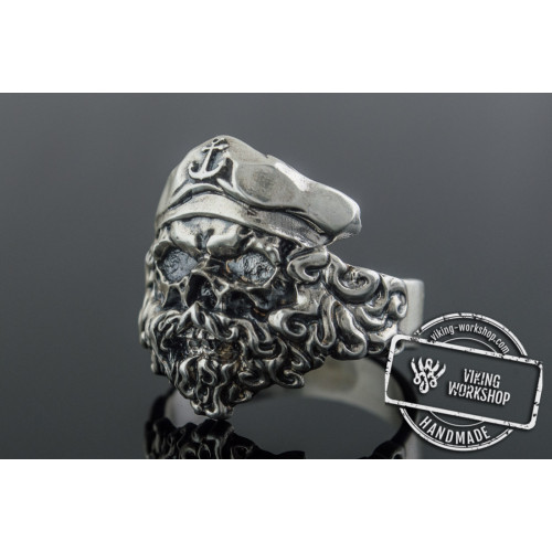 Pirate Skull with Anchor Symbol Sterling Silver Unique Ring Biker Jewelry