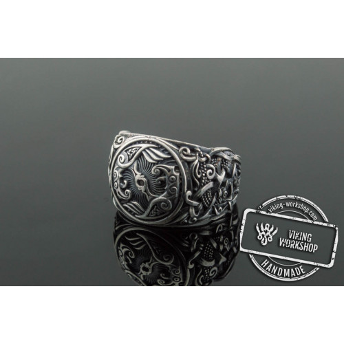 Raven Ring with Mammen Ornament Sterling Silver Viking Jewelry