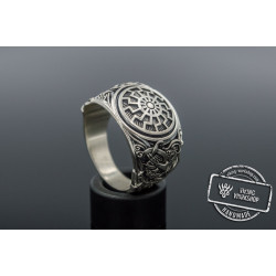 Black Sun Ring with Mammen Ornament Sterling Silver Viking Jewelry
