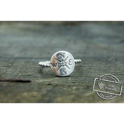Ring with Compass Symbol Sterling Silver Unique Handcrafted Jewelry