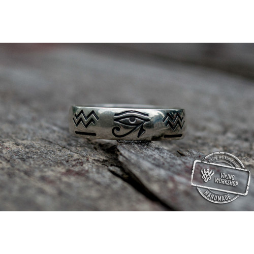 Ring with Egypt Symbol Sterling Silver Unique Jewelry