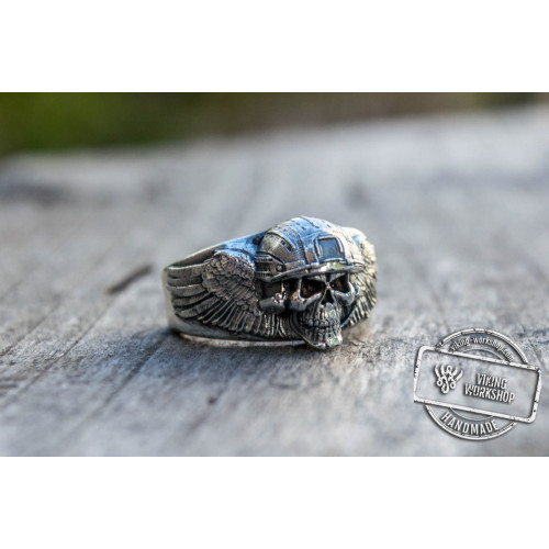 Ring with Skull Sterling Silver Handcrafted Jewelry