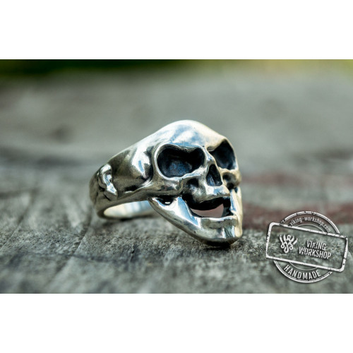 Skull Ring Sterling Silver Unique Handcrafted Biker Jewelry