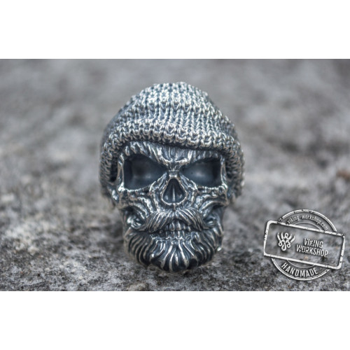 Skull Biker Ring Sterling Silver Unique Handmade Jewelry