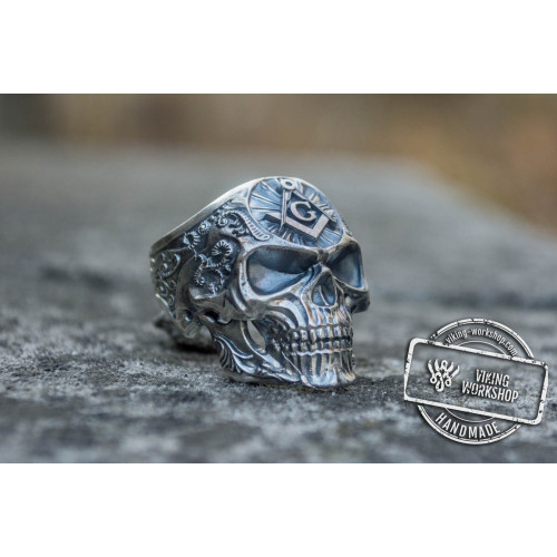 Skull Ring with Masonic Symbol Sterling Silver Unique Handmade Jewelry