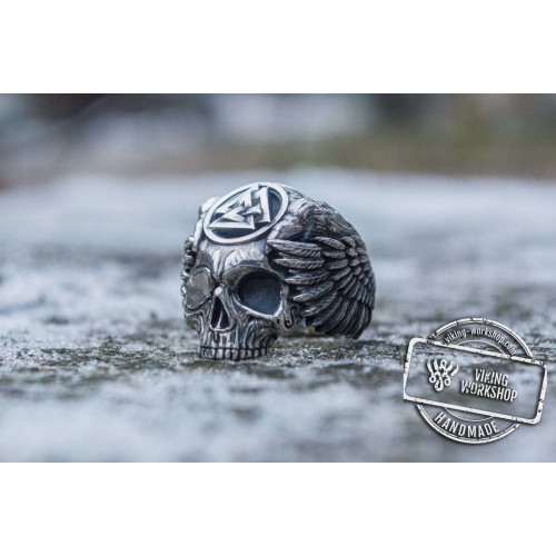 Odin Ring with Valknut Symbol Ring Sterling Silver Unique Handmade Jewelry
