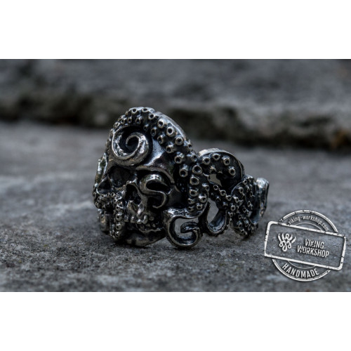 Krakken with Skull Unique Animal Sterling Silver Ring Handcrafted Unique Jewelry