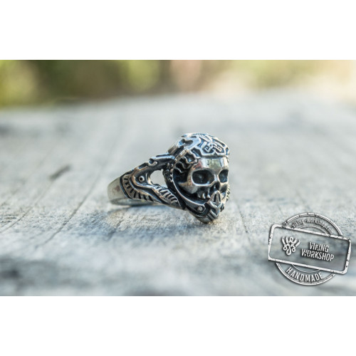 Skull with Ornament Ring Sterling Silver Handcrafted Jewelry