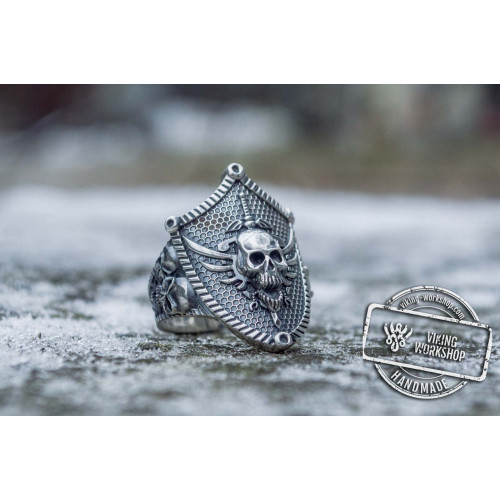 Skull with Shield Sterling Silver Unique Handmade Jewelry