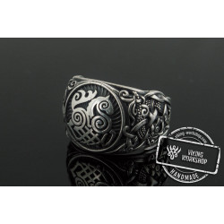 Sleipnir Ring with Mammen Ornament Sterling Silver Unique Jewelry