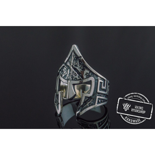 Spartan Helmet Ring Sterling Silver Unique Handmade Jewelry