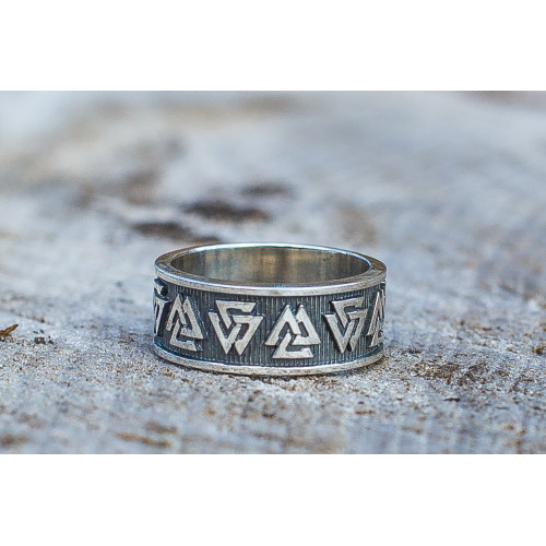 Valknut Symbol Ring Sterling Silver Viking Jewelry