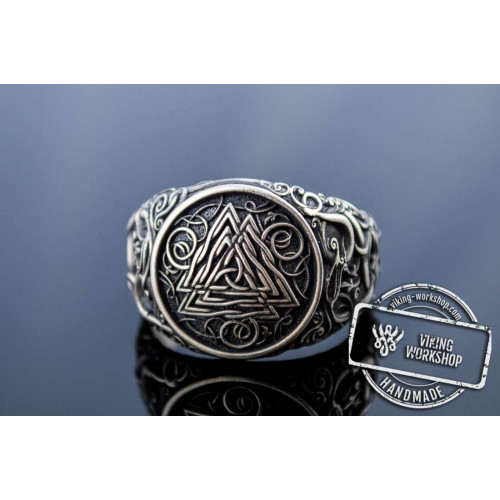 Valknut Symbol Ring with Urnes Style Sterling Silver Viking Jewelry