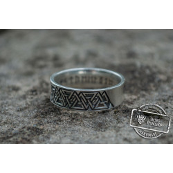 Ring with Valknut Symbol Sterling Silver Viking Jewelry