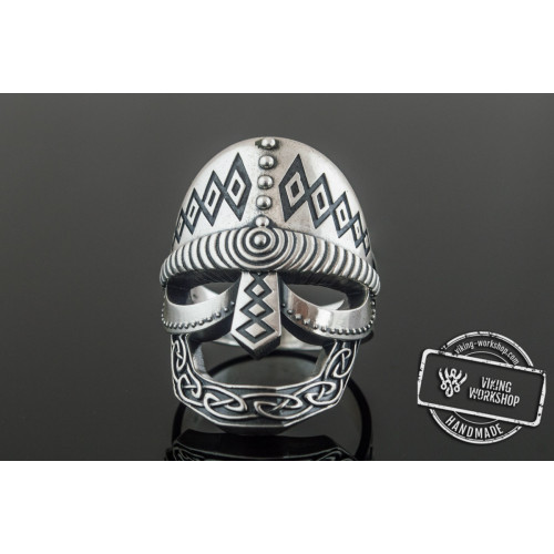 Viking Helmet Ring Sterling Silver Unique Handmade Jewelry