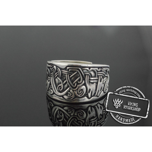 Viking Ornament Ring  Sterling Silver Norse Jewelry