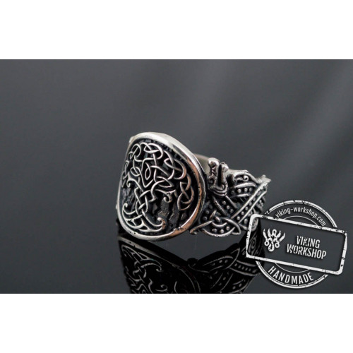 Yggdrasil Symbol with Wolf Ornament Sterling Silver Viking Ring