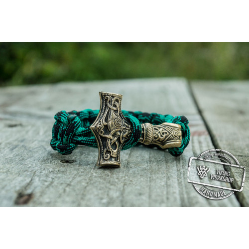 Bronze Thors Hammer Green Paracord Handcrafted Bracelet