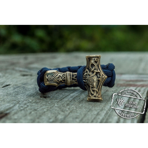 Bronze Thors Hammer Purple Paracord Handcrafted Bracelet