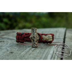 Bronze Thors Hammer Red Paracord Handcrafted Bracelet