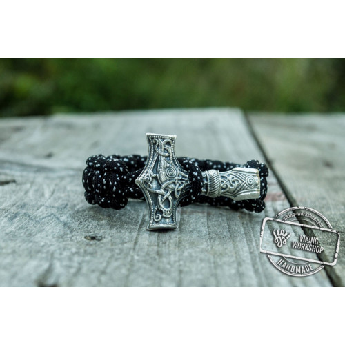 Huge Sterling Silver Thors Hammer with Black Paracord Handcrafted Bracelet