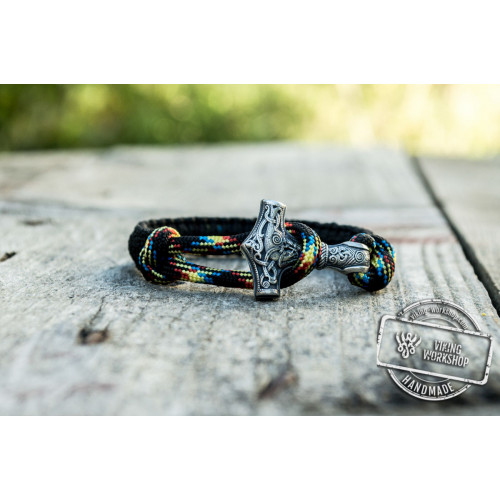 Sterling Silver Thors Hammer Black with Multicolor Paracord Handcrafted Bracelet