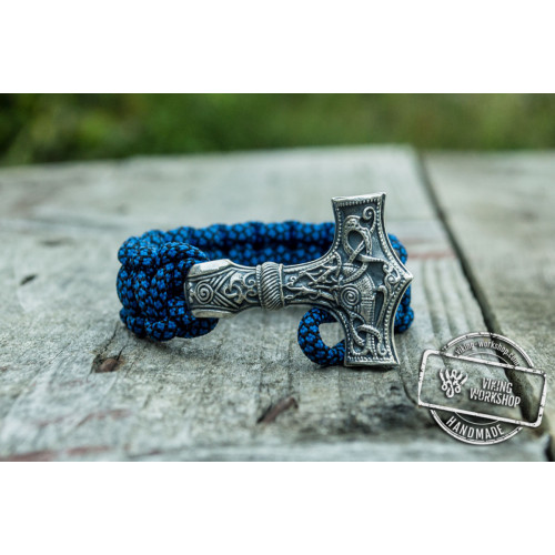 Huge Sterling Silver Thors Hammer with Blue Paracord Handcrafted Bracelet