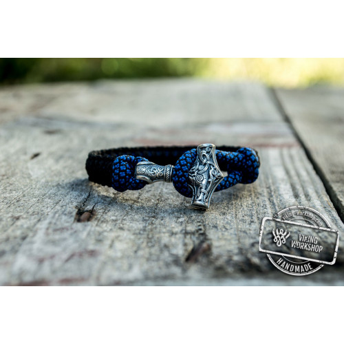 Sterling Silver Thors Hammer Blue with Black Paracord Handcrafted Bracelet
