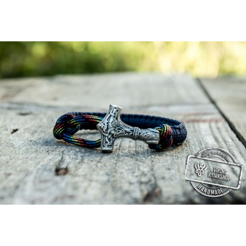 Sterling Silver Thors Hammer Blue with Multicolor Paracord Handcrafted Bracelet