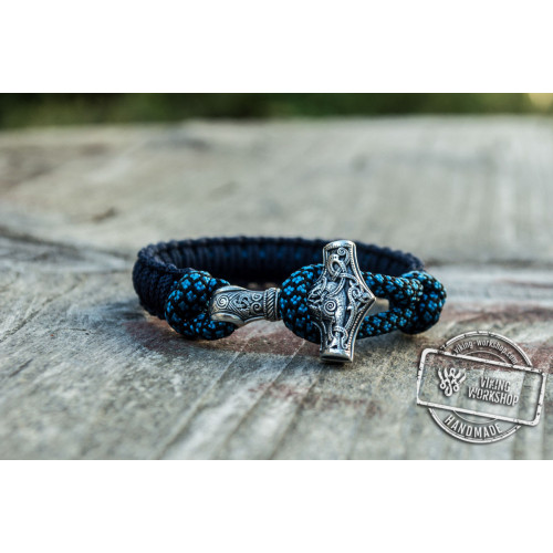 Sterling Silver Thors Hammer Dark Blue with Blue Paracord Handcrafted Bracelet