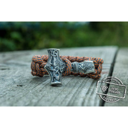 Huge Sterling Silver Thors Hammer with Grey Paracord Handcrafted Bracelet