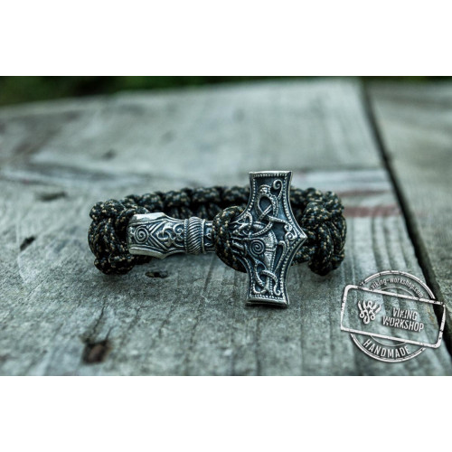 Huge Sterling Silver Thors Hammer with Olive Paracord Handcrafted Bracelet