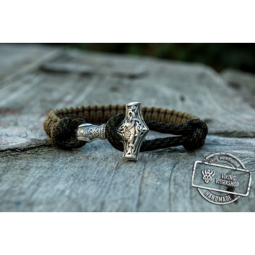 Sterling Silver Thors Hammer Olive With Coyet Paracord Handcrafted Bracelet