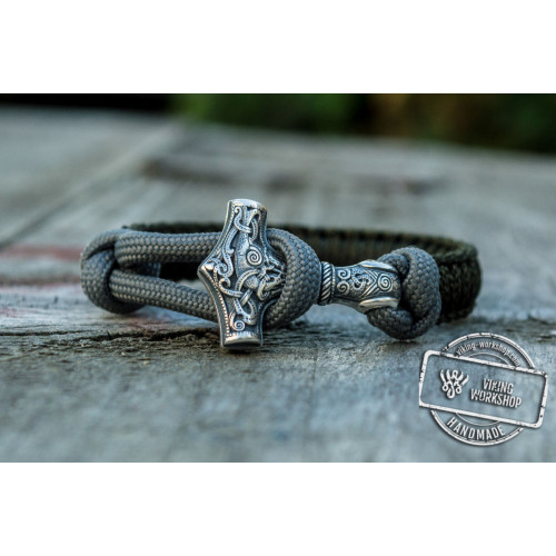 Sterling Silver Thors Hammer Olive With Grey Paracord Handcrafted Bracelet