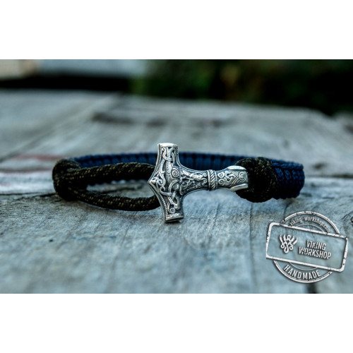 Sterling Silver Thors Hammer Olive With Purple Paracord Handcrafted Bracelet