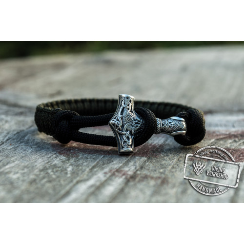 Sterling Silver Thors Hammer Olive with Black Paracord Handcrafted Bracelet