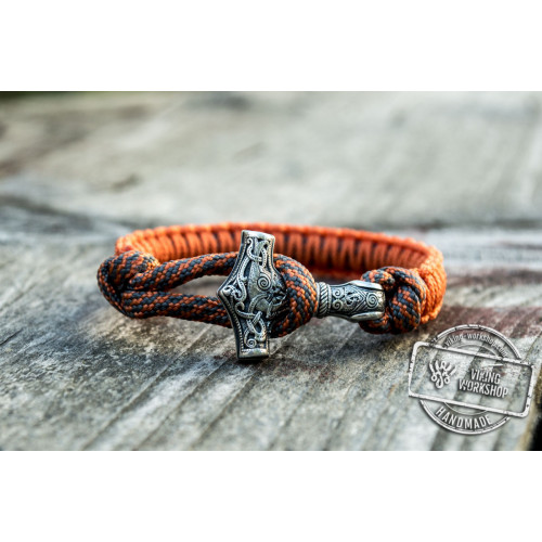 Sterling Silver Thors Hammer Orange Paracord Handcrafted Bracelet