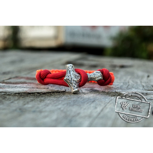 Sterling Silver Thors Hammer Pink with Red Paracord Handcrafted Bracelet