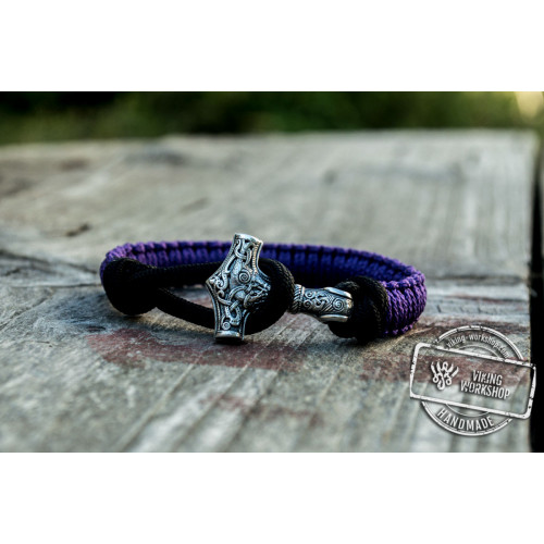 Sterling Silver Thors Hammer Purple with Black Paracord Handcrafted Bracelet