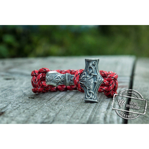 Huge Sterling Silver Thors Hammer with Red Paracord Handcrafted Bracelet