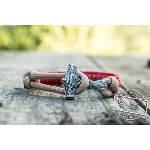 Sterling Silver Thors Hammer Red With Beige Paracord Handcrafted Bracelet