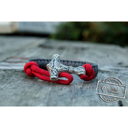 Sterling Silver Thors Hammer Red With Grey Paracord Handcrafted Bracelet