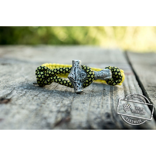 Sterling Silver Thors Hammer Yellow Paracord Handcrafted Bracelet