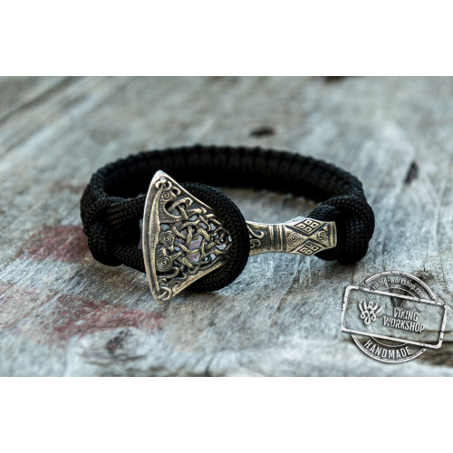 Sterling Silver Viking Axe Black Paracord Bracelet Handmdade Jewelry