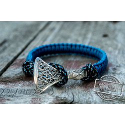 Sterling Silver Viking Axe Blue Paracord Bracelet Handmade Jewelry
