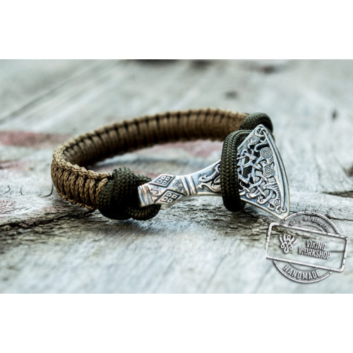 Sterling Silver Viking Axe Coyote Paracord Bracelet Handmdade Jewelry