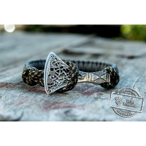 Sterling Silver Viking Axe Grey Paracord Bracelet Handmdade Jewelry