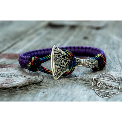 Sterling Silver Viking Axe Purple Paracord Bracelet Handmdade Jewelry