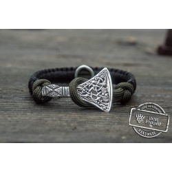 Black Paracord Bracelet with Viking Axe and Norse Rune Jewelry